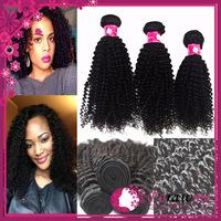 Forawme unprocessed kinky curly virgin hair brazilian 100% human hair 1b black mix lengths 3 bundles lot brazillian hair weaves