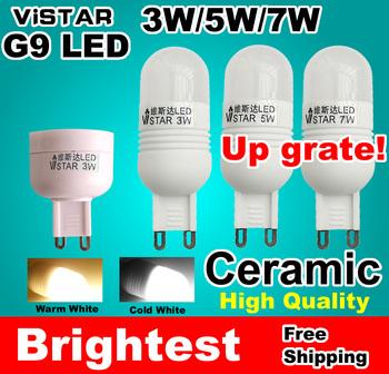 3W 5W 7W G9 LED 220V 230V 240V 110V LAMPS Ceramic light 2834 SMD Crystal led bulb Cold white Warm white wholesale free shipping