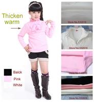 Children t shirts girls clothing Girls Tops Girls T-Shirt Cotton Thicken  Winter Pearl Turtleneck long sleeve t shirt