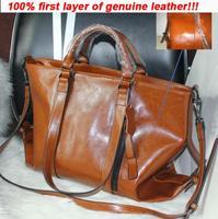 Women's BIG messenger bags Wax genuine leather handbags Lady's OL work bag wine red motorcycle vintage bags female causal bags