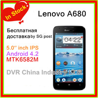 Original Lenovo A680 Smart phone 5.0 inch MTK6582m Quad Core 1.3GHz Android 4.2 3G GPS Multi language Free shipping