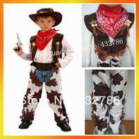 Free Shipping Retail(1 pieces)and Wholesale Children Handsome Cowboy Costume Kids Carnival Suits hat+coat+pants+necktieJSCC-3841