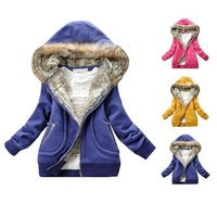 fur collar hooded sweater winter women's hoodies Jacket coat outwear keep warm cotton padded thickening size:M,L,2xl