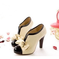 high heel shoes new sexy lady  beige bow pump platform women free shipping size 35-43 wholesale