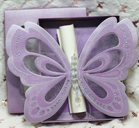 Free Shipping Purple Elegant Butterfly Wedding Invitations and Blank Scroll RSVP Cards with Paper Box Anniversary Invitation