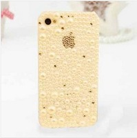 Free Shipping Fashion Rhinestone Crystal Pearl Mobile Phone Case For Apple IPhone 5 5s Iphone 4 4s Hard Back Shin Case