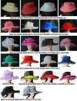 FREE SHIPPING BY EMS.Dress church hat Large brim Crystal Organza Hat sinamay hat silk flower for wedding/kentucky derby.
