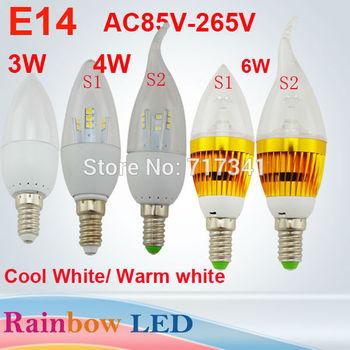 New Year 10pc led candle light E14 3W 4W 6W Warm White Cool White led lamp bulb  AC110V 220V 240VFree Shipping