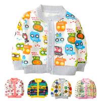 Baby Sweatshirt Autumn Winter Warm Fleece Knitted Clothes Cute Cartoon Print Hoodies Button Cardigan Clothing for Newborn Infant