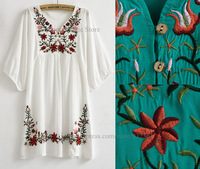 Vintage 70s Mexican Ethnic Flower EMBROIDERY Casual Dresses women tops,BOHO Hippie Women Dress Plus Size women clothing,Vestidos