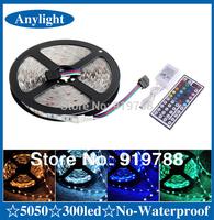 5m rgb led light strip 5050 flexible smd 300 Leds 60leds/meter + 44 Keys IR controller WLED13