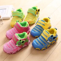 1-4 years old children's boys girls LED flash light mesh cartoon shoes for girl sports running shoes sneakers for kids
