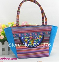Hot sell 2013 Embroidered Casual Canvas Bag Women's Messenger Bags Handbag Free shippment factory price