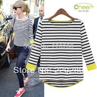 Fire Sale - new 2013 tops for women autumn -summer fitness blusas stripe T-shirt tee shirt 100% cotton long sleeve XXL plus size