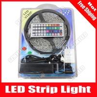 5M 300 Led 12V RGB LED Strip 5050 Waterproof fita LED Tape Luz Ribbon Lamps 60 Leds /m+ 44key Remote Controller+ 6A Power Supply