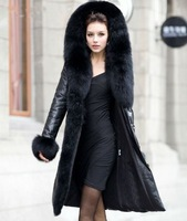 2014 New Women Genuine Natural Real Sheepskin Leather Fox Fur Huge Trim Hood Solid Black Thick Winter Down Coat Outerwear Jacket