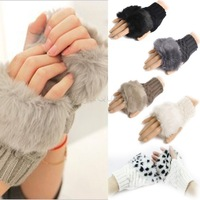Fashion Winter Arm Warmer Fingerless Gloves, Knitted Wool Fur Trim Gloves Mitten 5 Colors 8226