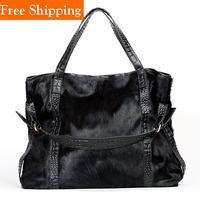 Vintage Fashion Handbag Messenger Bags Women Genuine Leather Horsehair Fur Bags 2014 100% Cowhide Designer Bag Necessaires