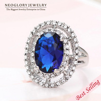 Neoglory Imitation Rhodium Plated Blue AAA Zircon Rhinestone Wedding Rings for Women Romantic Jewelry New Russia 2014 New