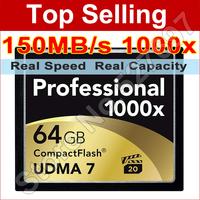 Brand Lexar 1000x 64GB CF Card UDMA Compact Flash Memory Card For Digital SLR Camera 1080p Full HD 3D Video Camcorder Wholesale