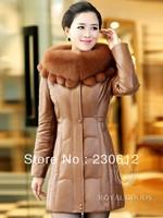 Winter Thick Women's Down Sheepskin Leather Jacket For Women Long Fox Fur Hooded Genuine Leather Down Coat Jackets Women K1615