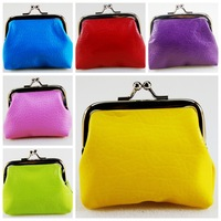 PU leather fruit color women coin purse wallets  change purse,metal buckle coin bag ,clutch mini wallet