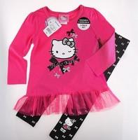 Retail New 2014 Children spring+autumn 2pcs Sets Skirt Suit hello kitty dress baby girls Clothing sets shirt +pants34