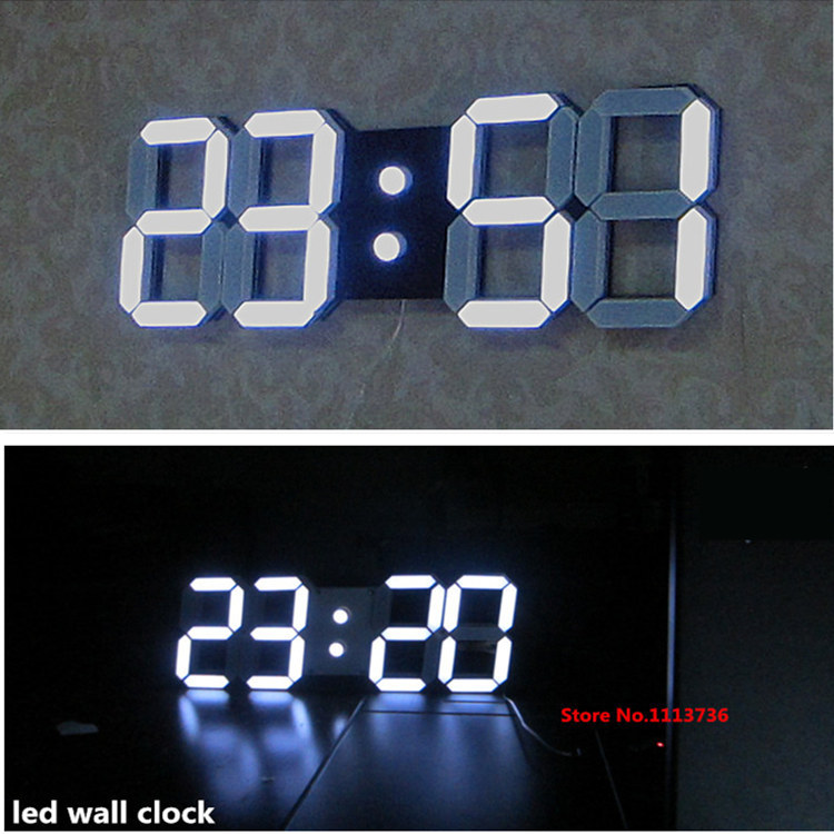 Large Modern Design Digital Led Wall Clock Big Creative Vintage Watch Home Decoration Decor Alarm Temperature 3d White Gift(China (Mainland))