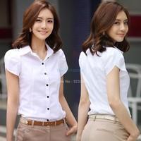 Hot!!! Ladies Summer White Bubble Short-Sleeved Lapel OL Commuter Slim Woman Business Shirts Blouse Plus Size b014 SV003416