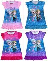 Free shipping girls clothes elsa 2014 frozen nightdress princess kids cotton nightgown pajamas children girls nightgowns 003