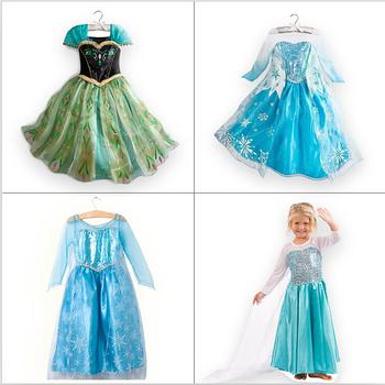 1 шт. дети платье девушка платье принцессы эльза анна платье лето футболка с длинным рукавом алмаз платье костюм, много конструкций в нашем магазине