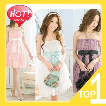 Free shipping Ruili 2013 fashion charm cake Laminated Tube Dress Chiffon Ribbon dress Y0378 (Drop shipping support!)