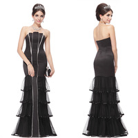 HE09346 Ever Pretty Black Fashion Cake Layer Mermaid Strapless Evening Dress