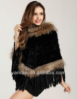 Top Quality YR-009 Hot sale rabbit & raccoon dog knitted poncho~Wholesale~retail~OEM