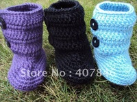 Baby crochet snow boots kids cute handmade 2 button first walker shoes cotton mix design 18pairs/lot custom