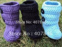 Baby crochet snow boots kids cute handmade 2 button first walker shoes cotton mix design 18pairs/lot custom