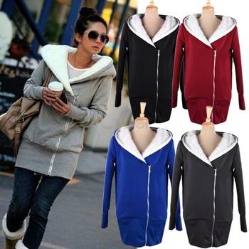 Free Shipping Korea Women Hoodies Coat Warm Zip Up Outerwear 5 Colors b6 3269