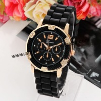 65pcs/lot 6 crystal fashion watch,hot sale dress watch,silicone quartz famous lady silicone watch.