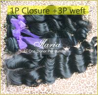 Ms Lula Hair Products Brazilian Virgin Hair Loose Wave 4pcs/lot Lace Closure With Virgin Brazilian Hair Human Hair Weft