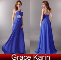 Free Shipping!Grace Karin A-line Chiffon Lace UP One Shoulder Prom Ball Party Evening Gown Long Formal Dress Blue AL16 CL2949