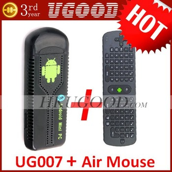Free RC11 Air Mouse In Stock UG007 Dual Core Mini PC Android 4.1.1 TV Box RK3066 1GB/8GB Bluetooth UG802 Updated MK802 Hotsale