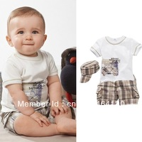 Retail, Hot Sale Baby Boys Set,Cars Model (Hat+Shirt+Shorts)3pcs Set, Baby Boy Summer Set,Free Shipping,IN STOCK