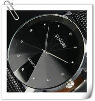 Free shipping New Classic SINOBI Mens Classic Black Dial Leather Quartz Wrist Man Fashion Style Quartz  Military Wrist Watch