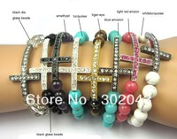 Wholesale 100pcs/lot Glass/Tiger-eye/Turquoise/Amethyst Beads Rhinestone Sideways Cross Bracelet