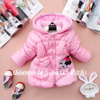 Retail Free shipping 100% cotton Girls Minnie design the dim thick coat,children coat,children clothing