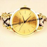 100pcs/lot Fashion Handmade Rope Bracelet Women Watch Geneva Hand-Woven Watches Ladies Quarzt Braided GENEVA Dress WristWatches