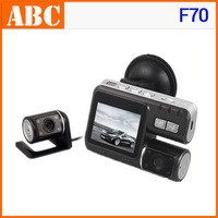 Car DVR with two cameras F70 HD 720p G-Sensor H.264 AV-IN Vehicle Camera Video camcorder 4-LED/2.0' LCD/TV-Out 30fps russia
