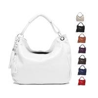 Free shipping, 100% Soft Genuine Leather  Lady Women's Handbag Shoulder+tote+Messenger bag, with Tassel + Long Shoulder strap
