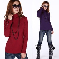 2013 Spring Autumn Women Solid Turtleneck Cotton basic shirts tops t shirt M~XXXXL , Free shipping