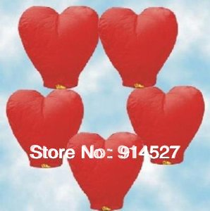 20pcs 2013 Romantic Heart Shaped Love Sky Lanterns Fire Air Chinese lanterns Valentine Day Wedding Decorations Gifts